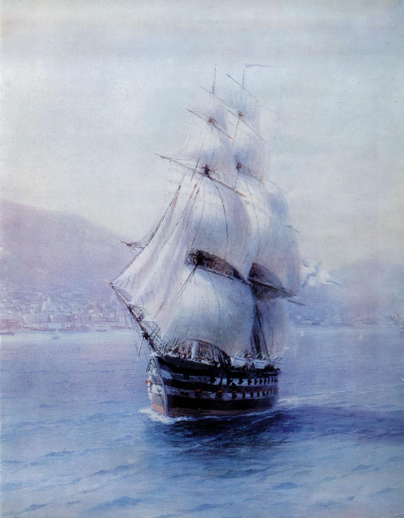 Флот Black в Fcodosia.  1890 Холст, масло.  (фрагмент)